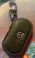 UK Black Leather Car Keyholder Volvo Ring Keychain Case Holder Zipped Bag Purse