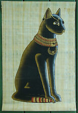 Egyptian Black Cat•Painting on Papyrus Paper•Highly decorative•16x23