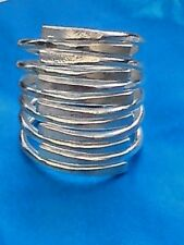 SOLID STERLING SILVER UNISEX LARGE SPIRAL ADUSTABLE RING 25mm.x 25mm. £34.95 NWT