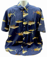 Vintage Nautica Fishing Button Down Shirt Large Medium Fish Lures Bass Blue