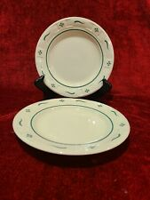 """Longaberger Woven Traditions Heritage Green Set of 2 Bread Plates 7 1/4"""""""