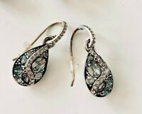 Brighton Trust Your Journey French Wire Earrings BLUE SILVER CRYSTALS NWOT