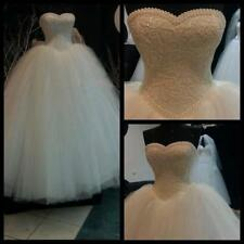 White ivory Lace Ball Gown Wedding Dress Bridal Gown Pearl Beads Custom Made