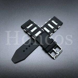 26 MM Black Silicone Rubber Russian Band Strap Silver Bullet Military Vintage