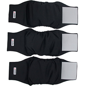 Wegreeco Washable Male Dog Belly Wrap - Pack of 3 - Black,Small