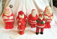 VINTAGE SANTA CHRISTMAS FIGURE OT OF 6 CELLULOID PLASTIC IRWIN EMPIRE UNMARKED
