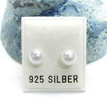 NEU 925 Silber OHRSTECKER mit 7mm PERLEN in weiß OHRRINGE PERLENOHRRINGE