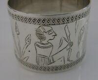 EGYPTIAN SOLID SILVER ART DECO NAPKIN RING 900 STANDARD 1942 UNUSUAL