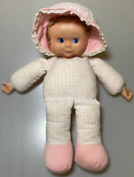 """Vintage Uneeda Plush Pink White Rubber Face Baby Doll 19"""" Bonnet Blue Eyes FLAW"""