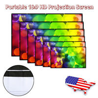 Collapsible 16:9 Projector Projection Screen Cloth Home Outdoor Theater Movie