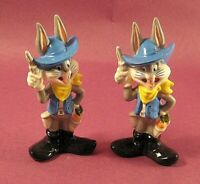 Lot of 2 - Collectible Warner Bros 1993 Bugs Bunny Salt Shakers Cowboy Outfit