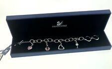 "Swarovski Pink Crystal Heart/Key Charm Silver Rhodium Toggle Bracelet 8"" NEW $95"