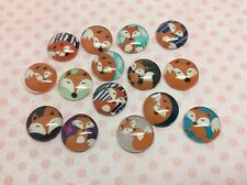 Woodland Fox glass cabochon pictures 16mm in diameter make earring pendant charm