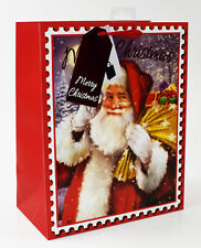Christmas Gift Bag Extra Large Traditional Foil Santa Claus Festive Wrapping Tag