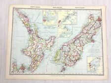 1909 Antique Map of New Zealand North South Island Wellington George Philip