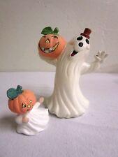 Ghost Pumpkin Head Ceramic Figurines Halloween, Lot of 2