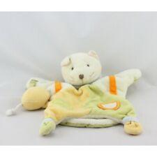 Doudou et compagnie plat marionnette chat blanc vert orange jaune avec souris -