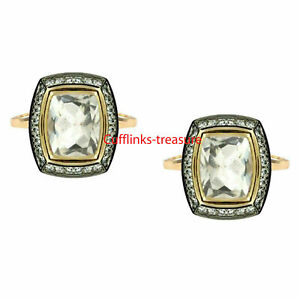 Natural Crystal & CZ Gemstones with 925 Sterling Silver Gold plated Cufflinks