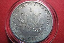 FRANCE,  1918  LIBERTE EGALITE  1  FRANC SILVER COIN, Very Fine Silver Coin