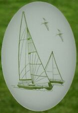 Sailboat Static Cling Window Decal OVAL 10x16 Tropical Nautical Glass Door Decor