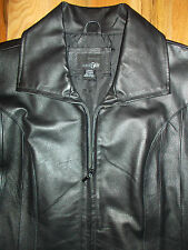 Leather Jacket LARGE Womens 14-16 Lined Black Dress Coat East 5th CLASSIC 4c46