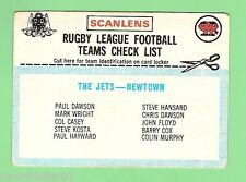 1977 SCANLENS RUGBY LEAGUE CHECKLIST - NEWTOWN JETS,  UNMARKED