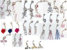 50 x dangle and gem navel belly bars, fairy bunny dolphin stars etc