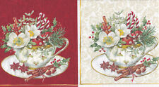 4 servilletas en 4 colores cups of Christmas taza herradura rojo blanco crema oro