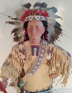 Sitting Bull Native American Indian Cheif Sioux Porcelain Doll Danbury Mint Boxd