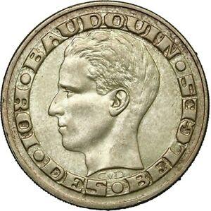 50 Francs Bruxelles World's Fair Baudoin silver coin SUP/AU