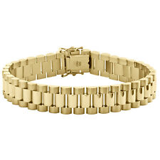 14K Yellow Gold Men Presidential Solid Link Box Clasp 12mm President Bracelet 8""