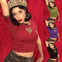 Women Trendy O-Neck Short Sleeve Love Leopard Print Corset Blouse Short Crop Top