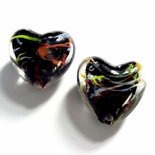 20 Black Lampwork Glass 20mm Puff Heart Beads