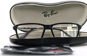 RAY-BAN Light Ray RB7038 2077 Black Matte Rectangular Eyeglasses 55-16-135