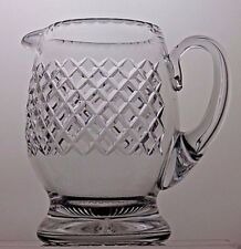 VINTAGE LARGE CUT GLASS CRYSTAL WATER JUICE JUG WINE PITCHER WITH HANDLE