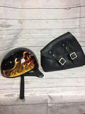 Harley Davidson Yellow Flame Helmet size M Medium & Leather Tool Bag