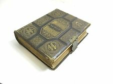 HUGE VICTORIAN GERMAN 1871 LEATHER BOUND FAMILY HOLY BIBLE WITH BRASS CLASP