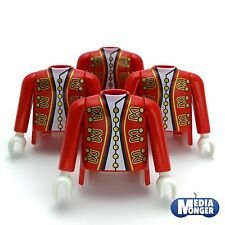 playmobil® 4 x Oberkörper mit Arme| rot | gold | Garde | Piraten | Soldat | Page