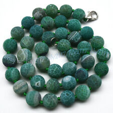 Green 6/8/10mm Matte Dream Fire Veins Agate Gems Round Beads Necklaces 14-55''