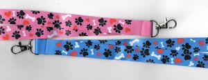 1 I Love Paws! Dog Paw Prints Breakaway Safety Lanyard Pink or Blue FREE UK P&P