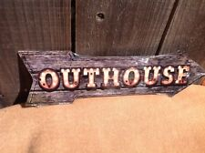 """Outhouse This Way To Arrow Sign Directional Novelty Metal 17"""" x 5"""""""