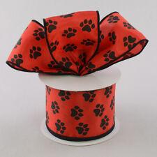 "ANIMAL PAW PRINT RIBBON RED Satin Wired Edge 2.5"" W x 10 Yds Dog Cat Wreath Paws"