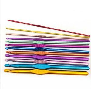 12pcs Multi colour Aluminium Crochet Hooks Yarn Knitting Needles Set Kit UK