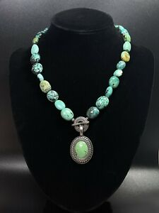 Vintage 925 Carolyn Pollack - CP Relios Sterling Silver Turquoise Necklace