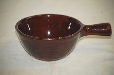 Old Vintage Stoneware Individual Casserole Soup Chili Bowl w Stick Handle USA