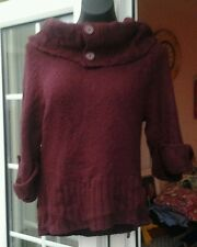 NEW LOOK PLUM COLOURED 3/4 SLEEVED COWL NECK JUMPER - SIZE 14