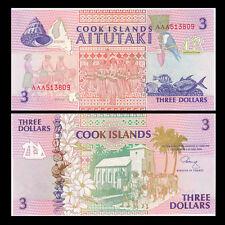 Cook Islands 3 Dollars, 1992, P-7, UNC
