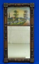 ANTIQUE 19c EGLOMISE MIRROR w/ REVERSE PAINTED GLASS