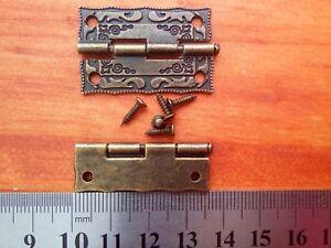 2Pcs Mini Vintage Antique Brass Hinges Door Hinge Wooden Furniture Jewelry Box