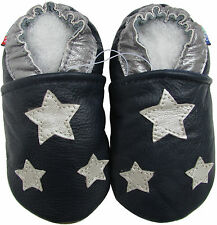 carozoo silver star dark blue outdoor 12-18m soft rubber sole leather baby shoes